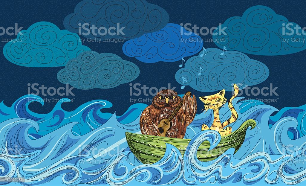The Owl And Pussycat Went Off To Sea royalty-free stock vector art