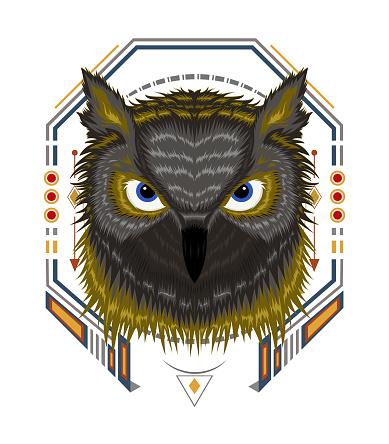 The Owl logo. Illustration of owl for t-shirt design printing