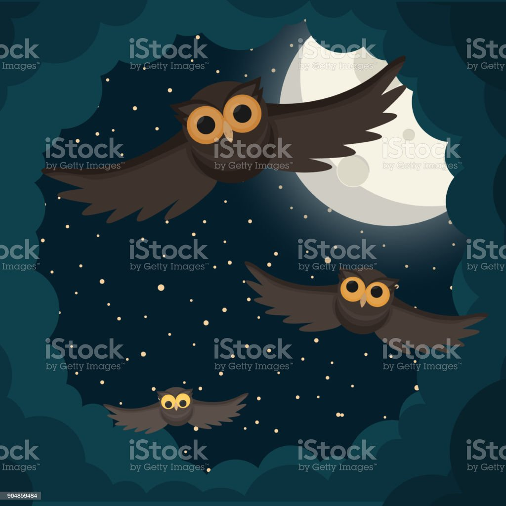 the owls flies in the clouds under moon. Vector illustration royalty-free the owls flies in the clouds under moon vector illustration stock vector art & more images of animal