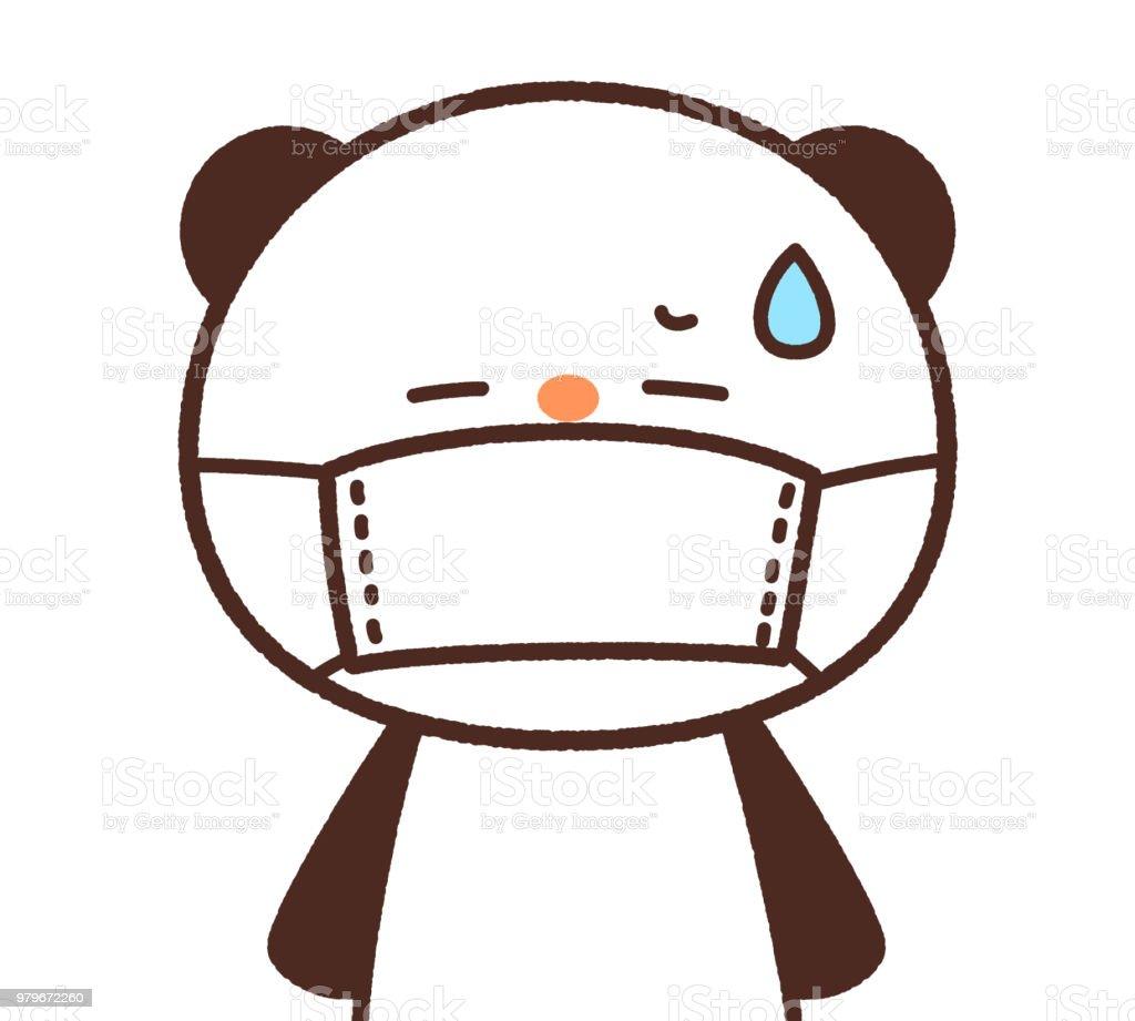 The panda putting on a mask vector art illustration