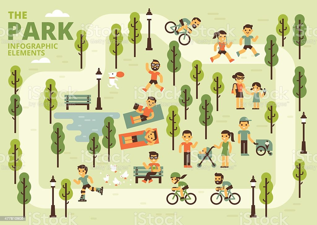 The Park Infographic Elements vector art illustration