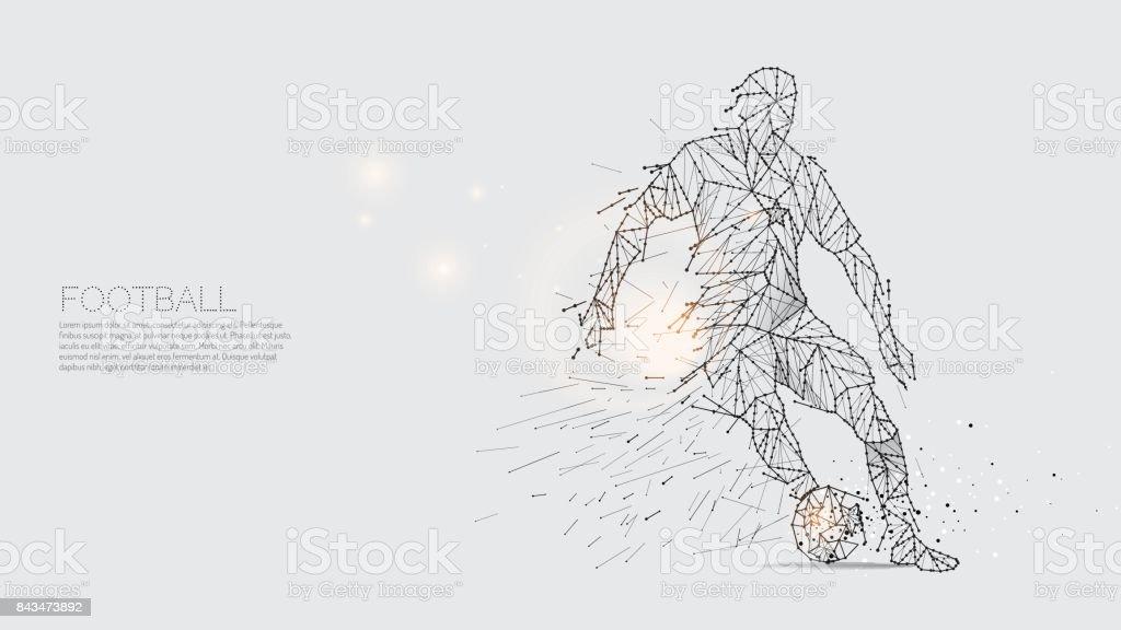 Las partículas y el punto de la línea de movimiento del jugador de fútbol. - ilustración de arte vectorial