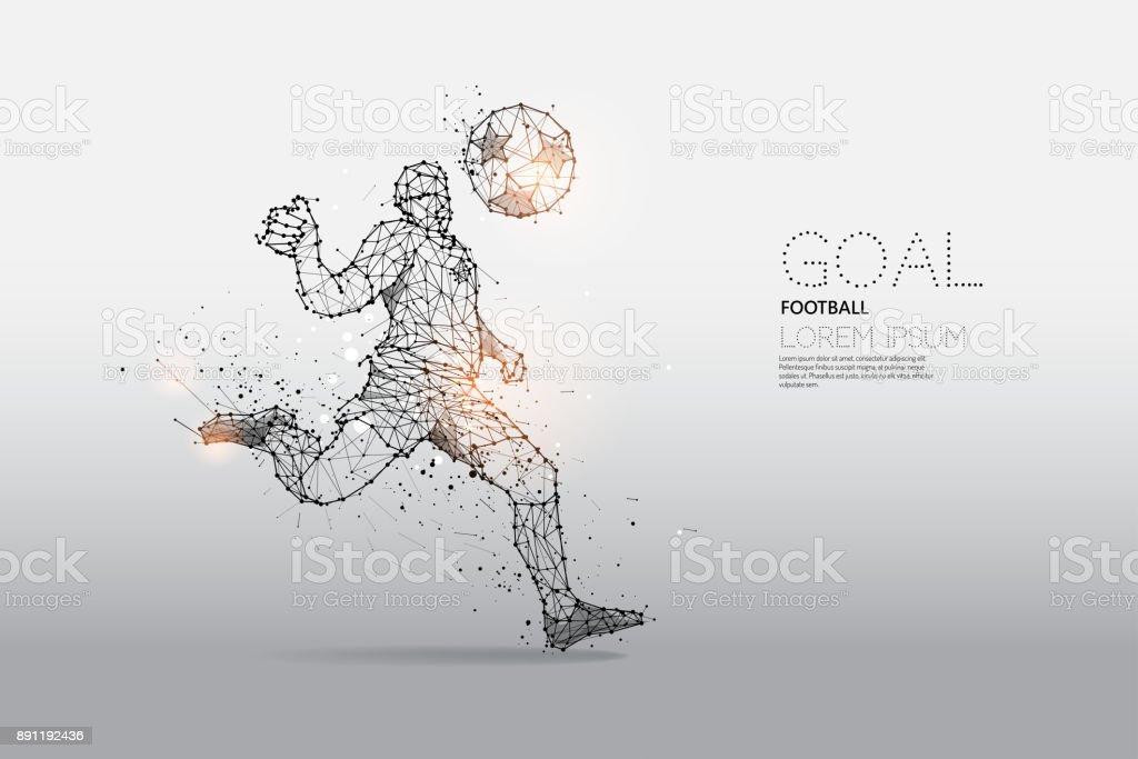 Les particules et le point de la ligne du mouvement de joueur de football - Illustration vectorielle