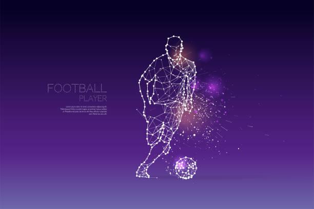 stockillustraties, clipart, cartoons en iconen met de deeltjes en lijn stip van de bewegingen van de speler van de voetbal - soccer player