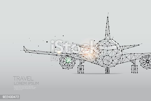istock The particles, geometric art, line and dot of Airplane 922400472