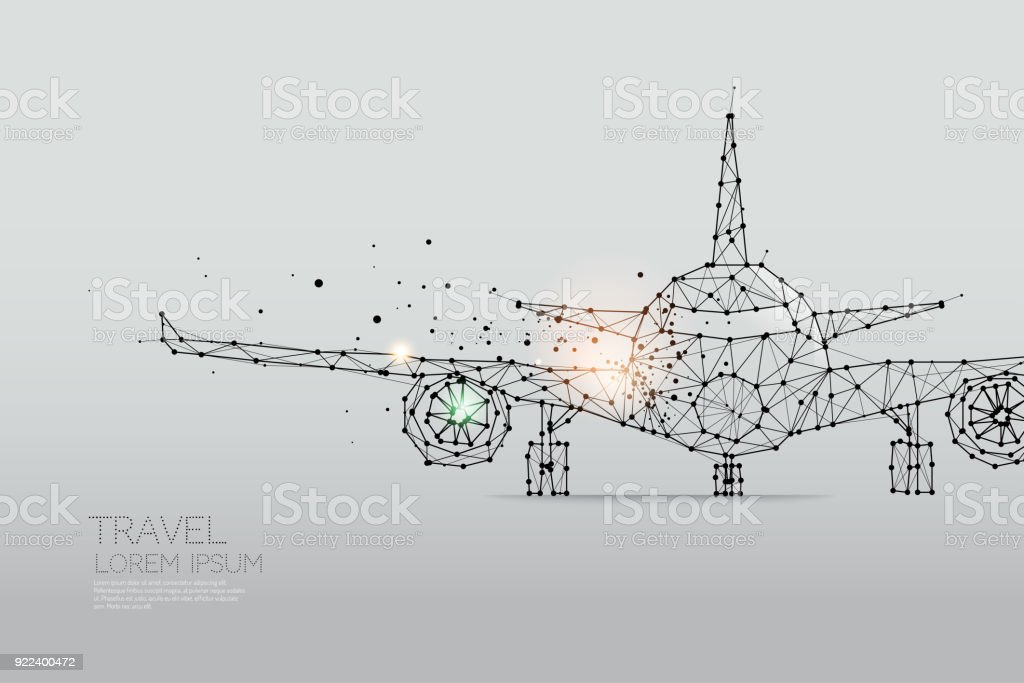 The particles, geometric art, line and dot of Airplane vector art illustration
