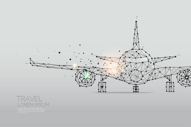 The particles, geometric art, line and dot of Airplane The particles, geometric art, line and dot of Airplane airport designs stock illustrations