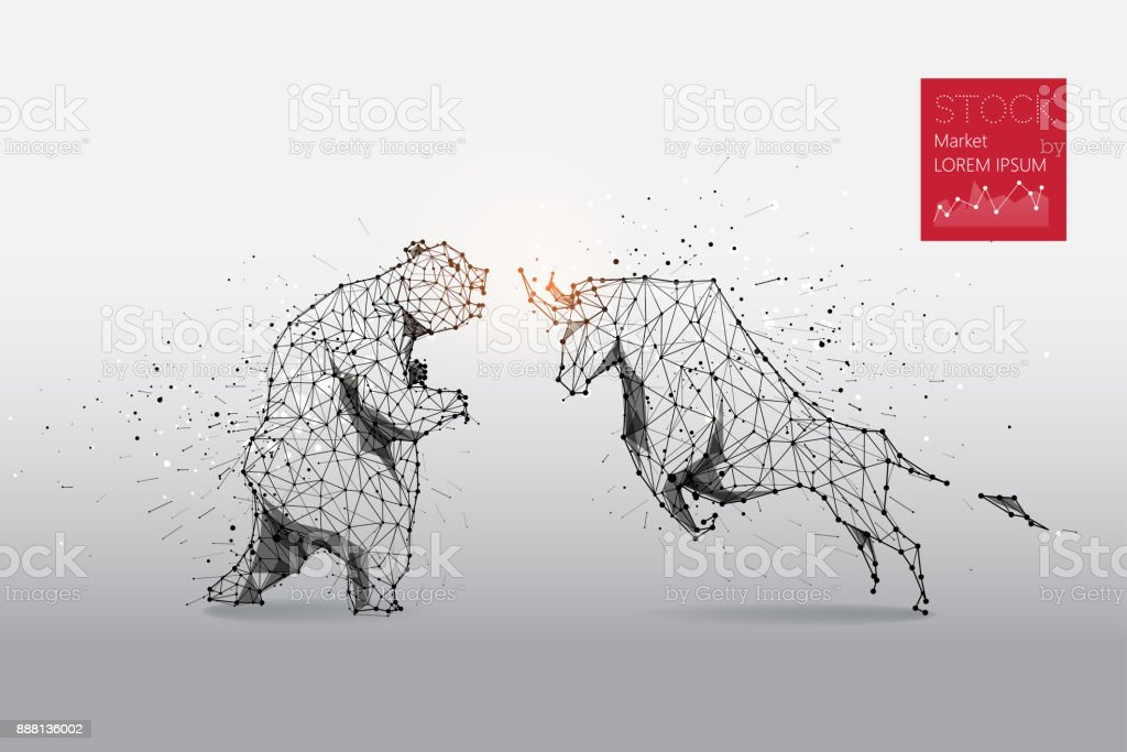 The particles, geometric art, line and dot of bear and bull