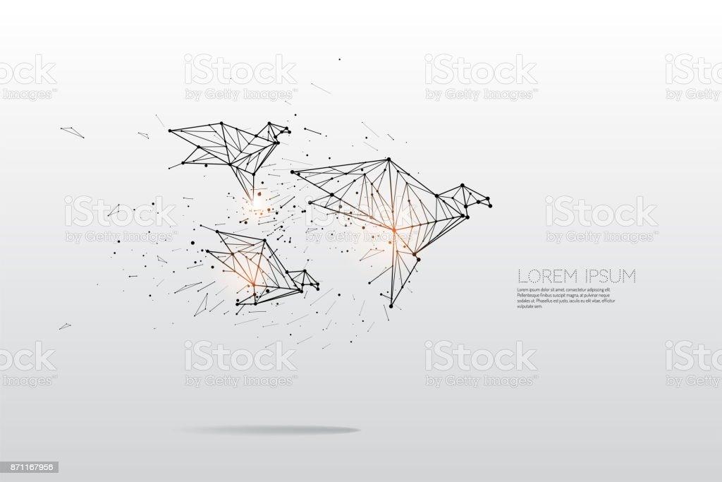 Les particules, l'art géométrique, la ligne et la dot d'oiseau qui vole - Illustration vectorielle