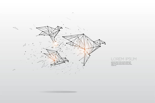 The particles, geometric art, line and dot of bird flying vector art illustration