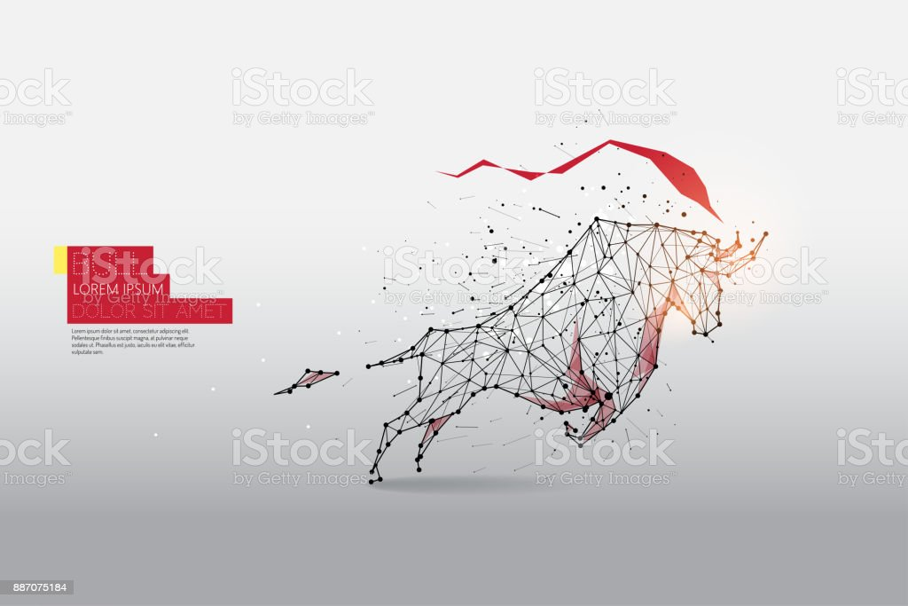 The particles, geometric art, line and dot of Bull moving vector art illustration