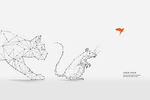The particles, geometric art, line and dot of Cat and Rat.