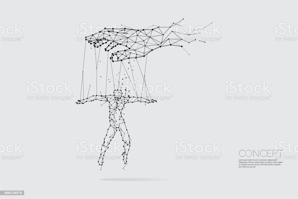 Die Partikel Geometrische Kunst Linie Und Punkt Von Hand Steuerung ...