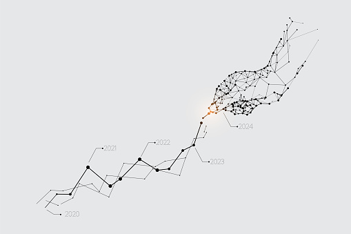 The particles, geometric art, line and dot of hand pickup the graph.