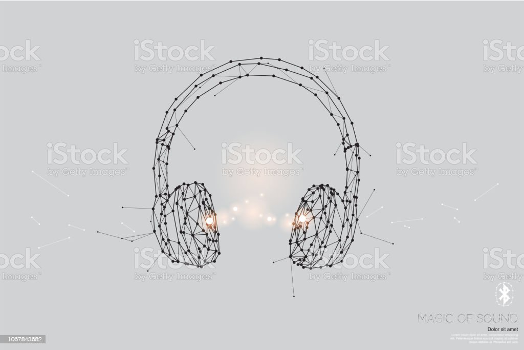 foto de The Particles Geometric Art Line And Dot Of Headphone Stock ...