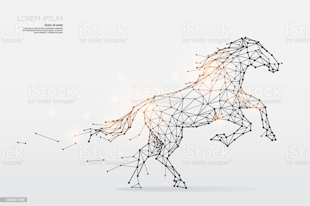 The Particles Geometric Art Line And Dot Of Horse Running Stock Illustration Download Image Now Istock