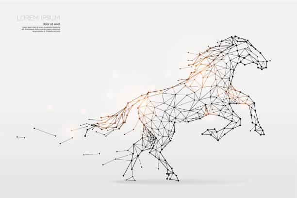 bildbanksillustrationer, clip art samt tecknat material och ikoner med partiklar, geometrisk konst, linje och prick av häst - häst tävling