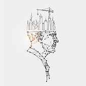 The particles, geometric art, line and dot of human head. abstract vector illustration. graphic design concept of thinking. - line stroke weight editable