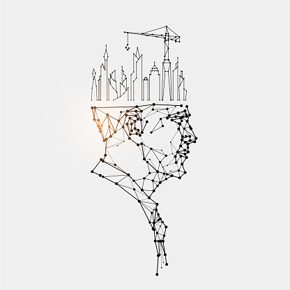 The particles, geometric art, line and dot of human head.