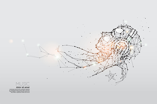 The particles, geometric art, line and dot of listening music.