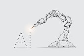 The particles, geometric art, line and dot of robot arm machine. abstract vector illustration. graphic design concept of Artificial intelligence. - line stroke weight editable