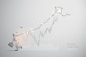 The particles, geometric art, line and dot of stock market trend.