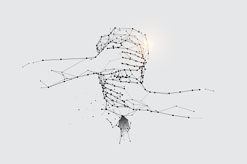 The particles, geometric art, line and dot of worker.