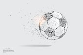 The particles line and dot of ball moving.