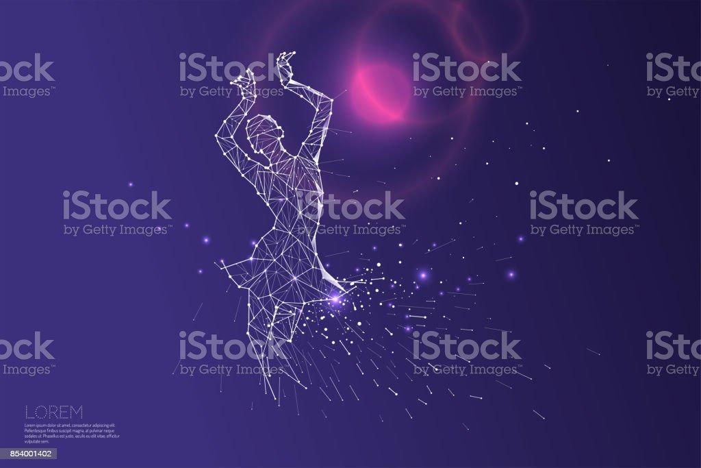 La línea de las partículas y dot de la danza de la dama. - ilustración de arte vectorial