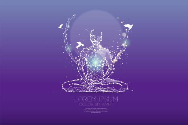 the particles, polygonal, geometric art - meditation - духовность stock illustrations