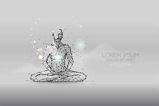 The particles, polygonal, geometric art - meditation