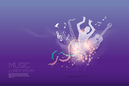The particles, polygonal, geometric art - music