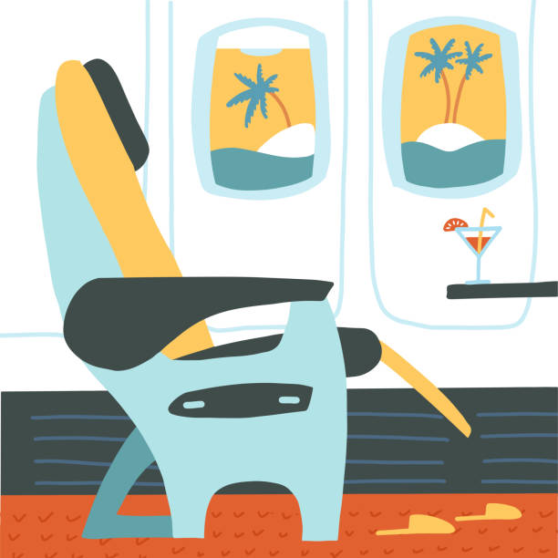 the passenger seat in airplane business class. cocktail on the site of the chair. tropical vacation. summer travelling concept. vector flat cartoon illustration. - airplane seat stock illustrations
