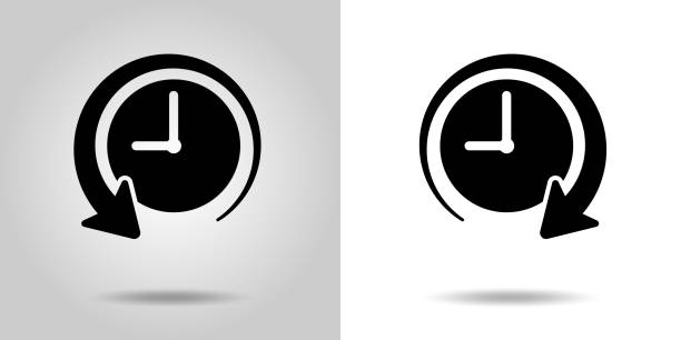 the past and the future of time clock icon, sign set - oś czasu pomoc wizualna stock illustrations