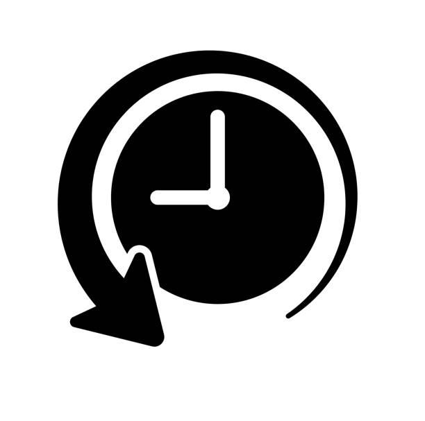 the past of time history clock icon - oś czasu pomoc wizualna stock illustrations