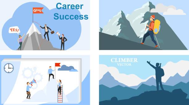 ilustraciones, imágenes clip art, dibujos animados e iconos de stock de el camino a la parte superior. montañismo. carrera. ilustración vectorial del crecimiento profesional. vector. - mountain top