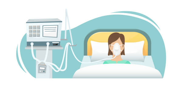 ilustrações de stock, clip art, desenhos animados e ícones de the patient is lying in the hospital on a ventilator. fighting the coronavirus. - covid hospital