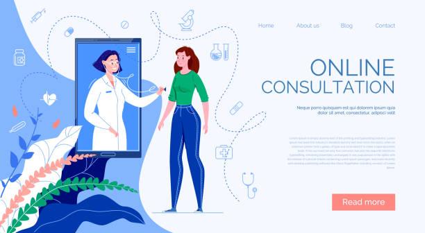 ilustraciones, imágenes clip art, dibujos animados e iconos de stock de el paciente se reúne con un médico en línea a través de la aplicación telefónica y recibe una consulta. - telehealth