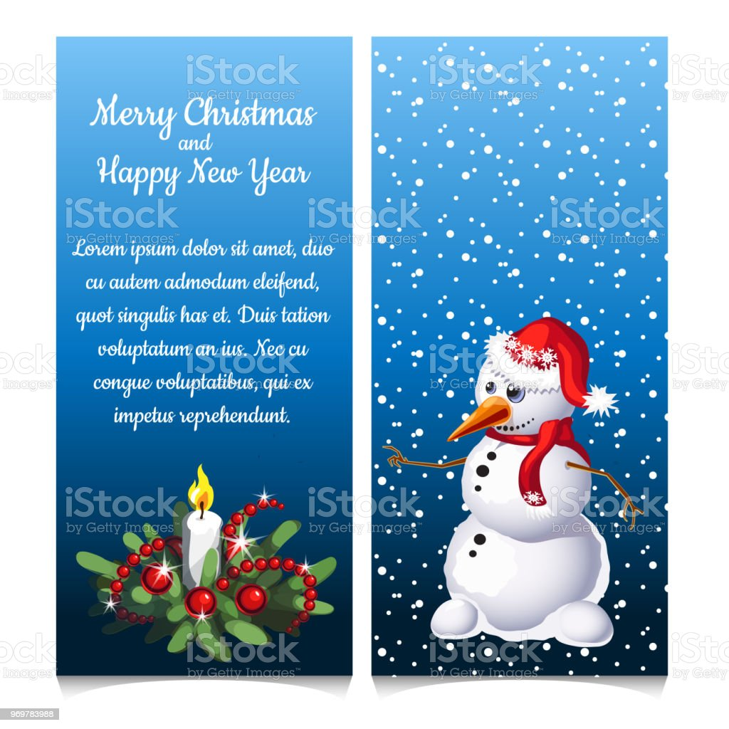 The Pattern Of Double Vertical Christmas Card With Snowman And