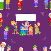 The pattern of the children are standing and holding the blank banner of the illustration