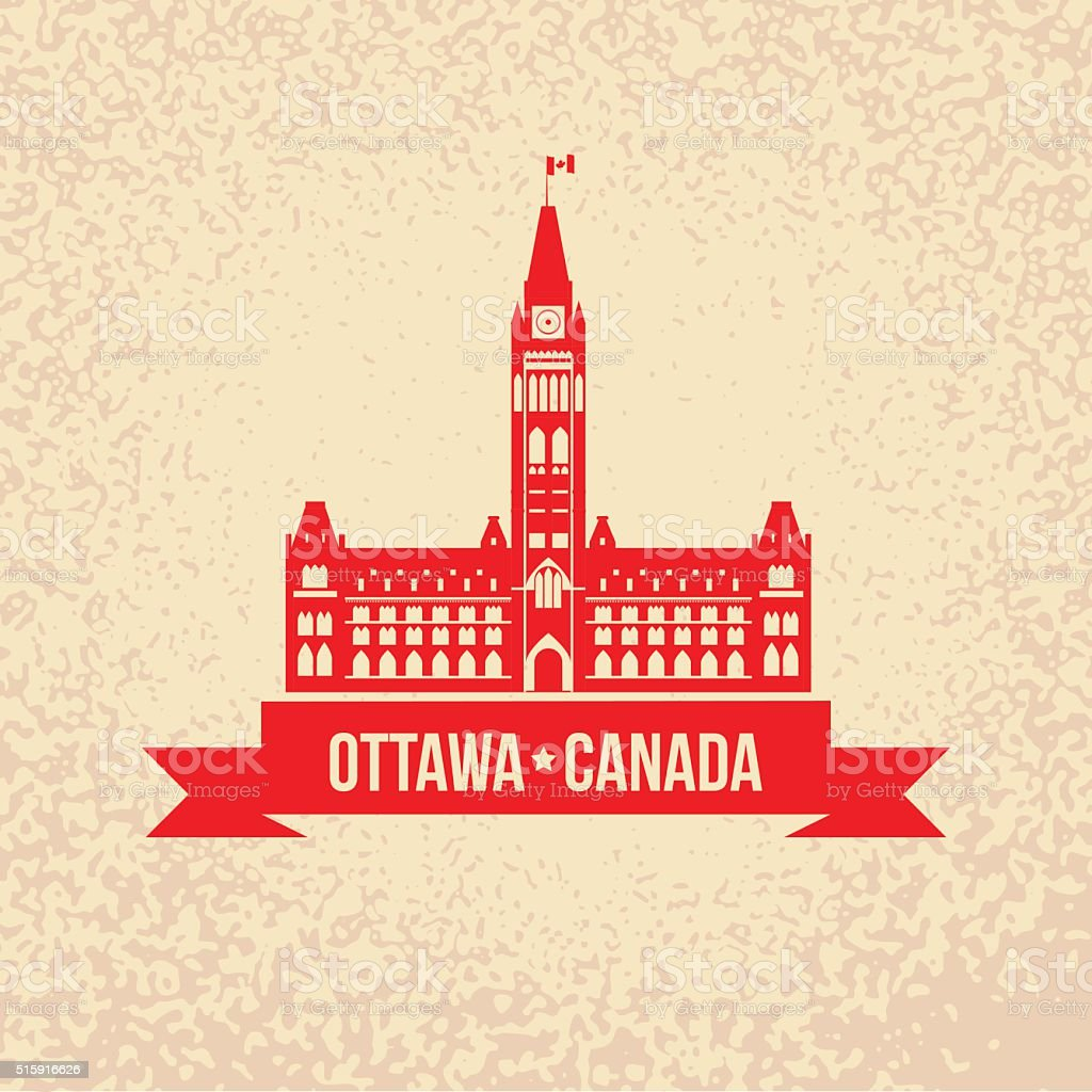 The Peace Tower - The symbol of Ottawa, Canada vector art illustration