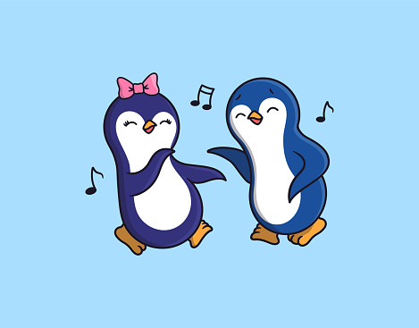 The Penguins, boy and girl are dancing and listening to music.