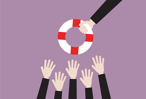 The people grab a lifebuoy