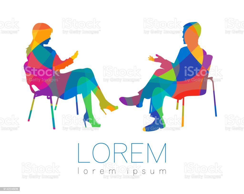 The people talk. Counselling or Psychotherapy session. Man woman talking while sitting. Silhouette profile. Modern symbol symbol. Design concept sign. Rainbow bright and colorful. vector art illustration