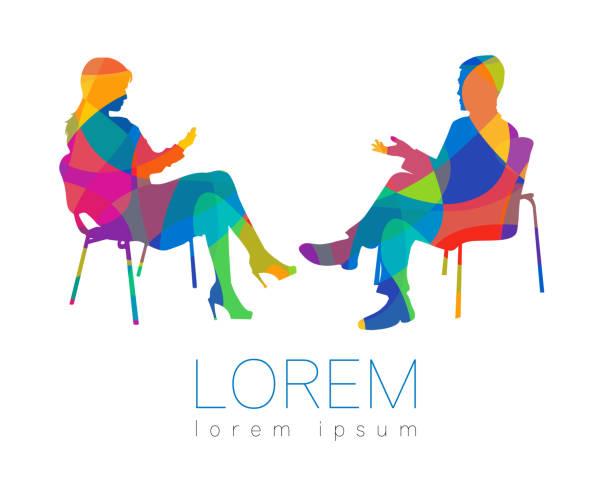 i̇nsanlar konuş. danışmanlık ya da psikoterapi oturum. adam kadın oturma sırasında söz. siluet profil. modern sembol sembolü. i̇şareti kavramı tasarım. gökkuşağı parlak ve renkli. - therapist stock illustrations