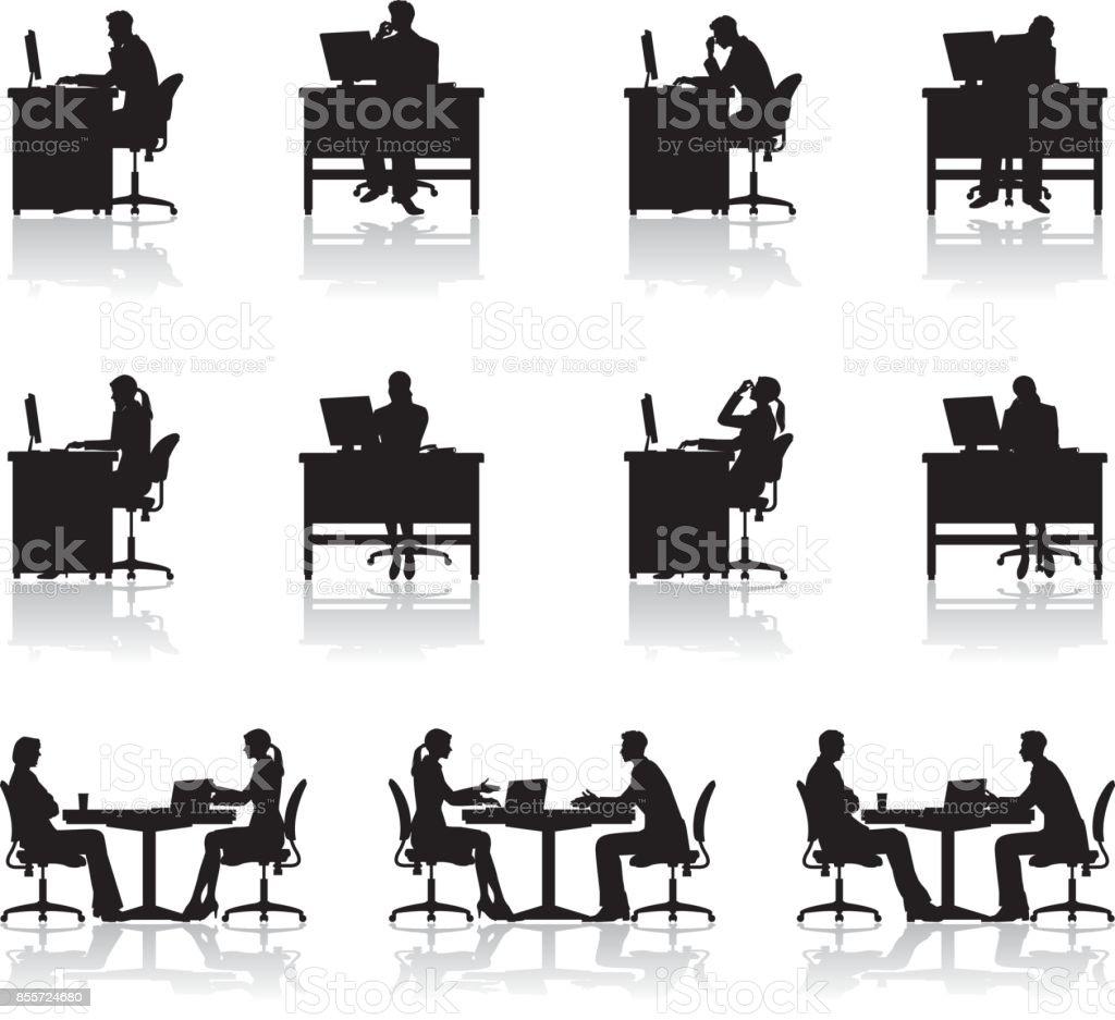 Die Menschen, die in einem Büro arbeiten – Vektorgrafik