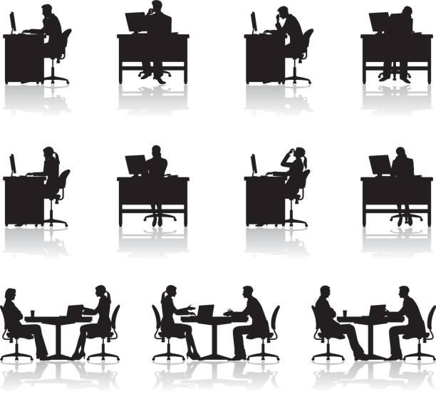オフィスで働く人々 - オフィスワーク点のイラスト素材/クリップアート素材/マンガ素材/アイコン素材