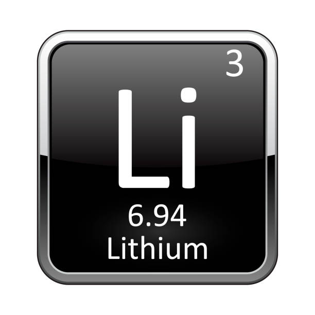 The periodic table element Lithium. Vector illustration Lithium symbol.Chemical element of the periodic table on a glossy black background in a silver frame.Vector illustration. lithium stock illustrations