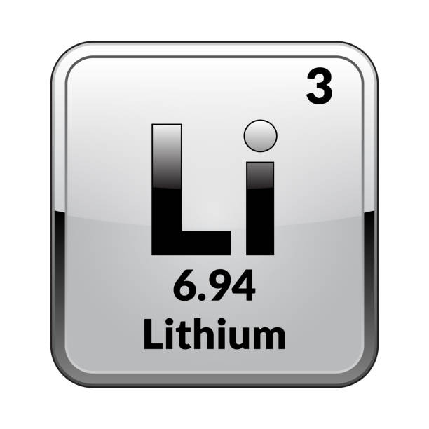 The periodic table element Lithium.Vector. Lithium symbol.Chemical element of the periodic table on a glossy white background in a silver frame.Vector illustration. lithium stock illustrations