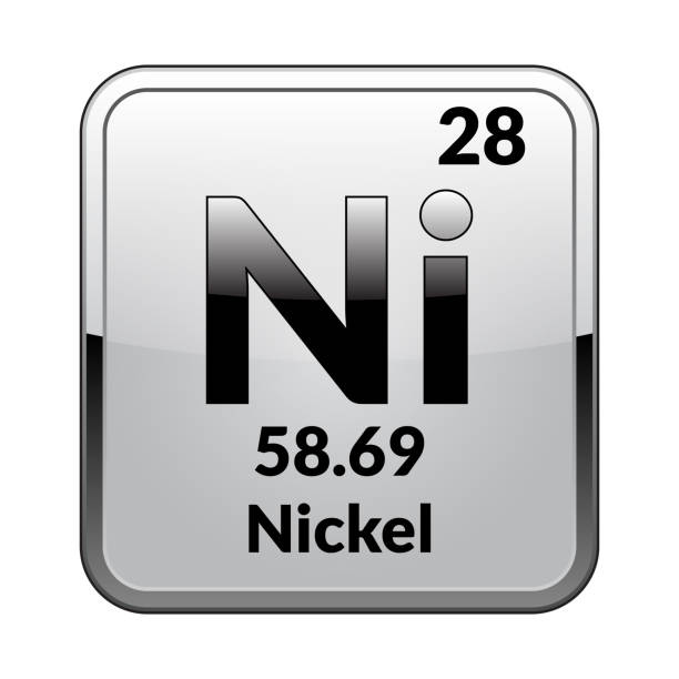 The periodic table element Nickel.Vector. Nickel symbol.Chemical element of the periodic table on a glossy white background in a silver frame.Vector illustration. nickel stock illustrations